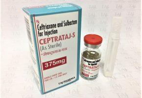 Ceftriaxone & Sulbactam For Injection IP (Ceptrataj-S) 250mg/125mg Taj Pharma